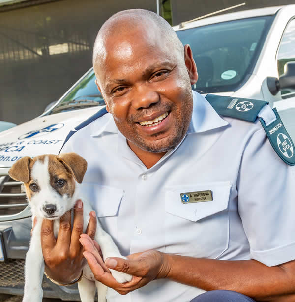 Puppy with SPCA Inspector